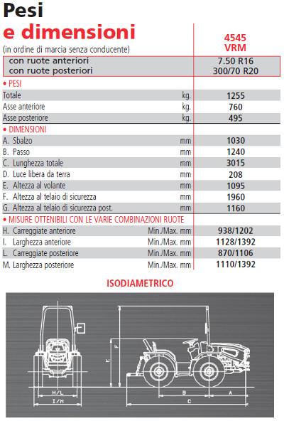 dimensioni trattore Valpadana