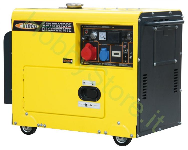 Generatore di corrente diesel vinco 5 0 kw mono trifase a for Gruppi elettrogeni usati 10 kw