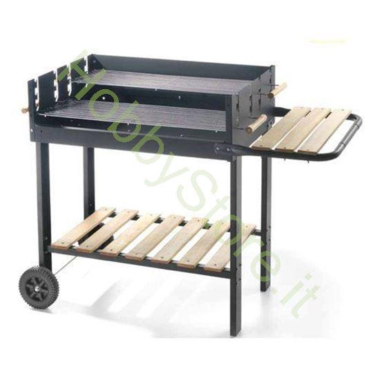 Grill carbone con ruote e 2 piani art. 68570