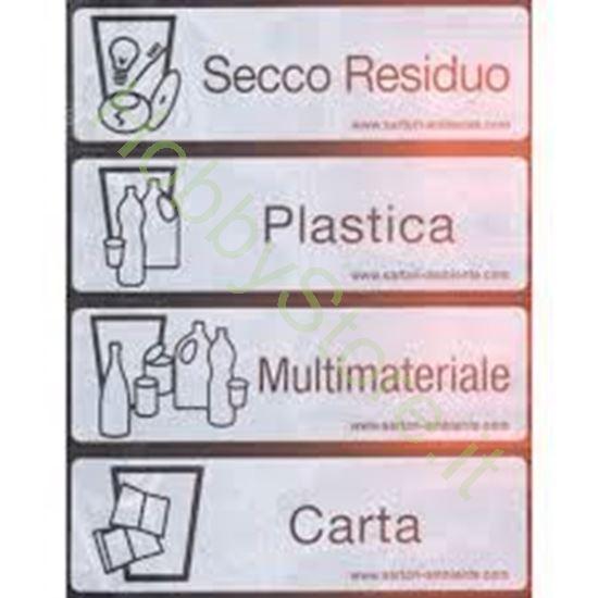 Foglio etichette adesive per bidone raccolta differenziata