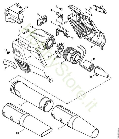 Corpo impugnatura, Motore elettrico, gruppo soffiante BGA 56 Stihl