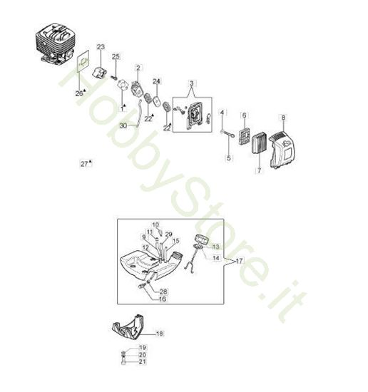 Serbatoio e filtro aria per BC 280 S