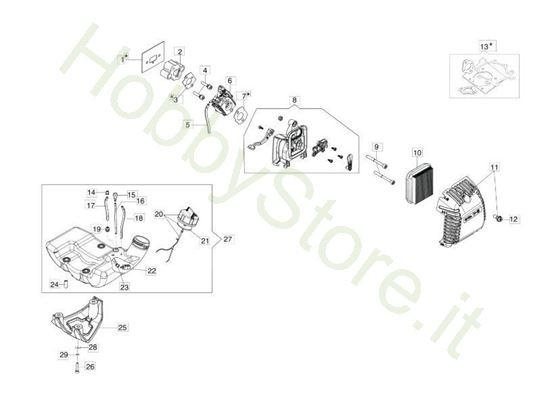 Serbatoio e filtro aria per BC 300 S
