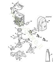 Albero a gomito, cilindro, silenziatore BR 430