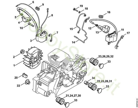 Impianto di accensione, Sistema AV  MS 180 Stihl