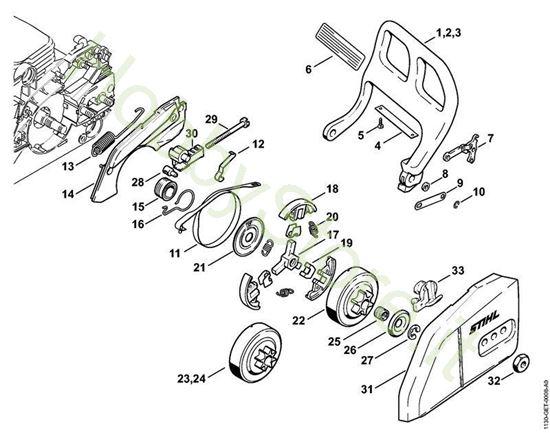 Protezione mano,freno catena Ms 170 Stihl