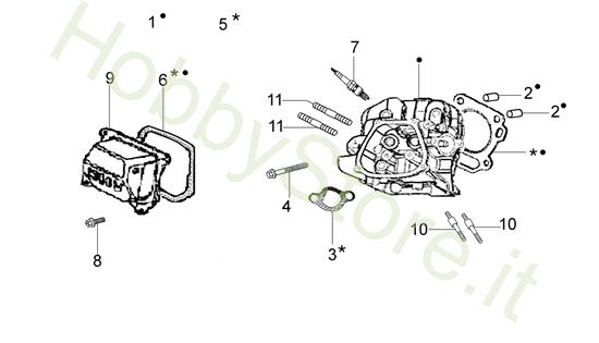 Testa cilindro per MH 198 RK (K800 HC)