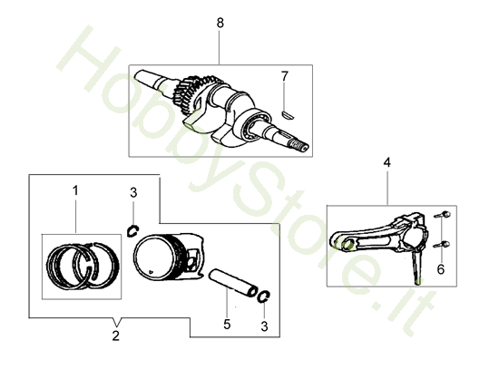 Albero e pistone per MH 198 RK (K800 HC)
