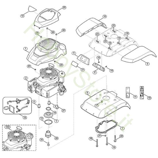 Copertura motore per Motozappa HB 685.1 Viking