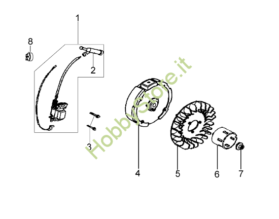 Volano e bobina per motozappa MH 175 RK (K800 HT)