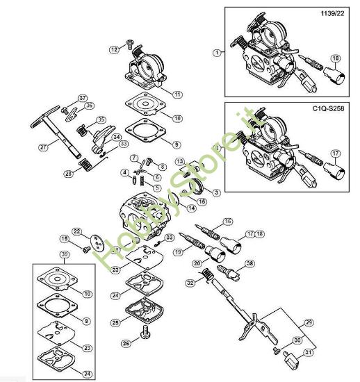 Carburatore 1139/22;C1Q-S268 MS 181 Stihl
