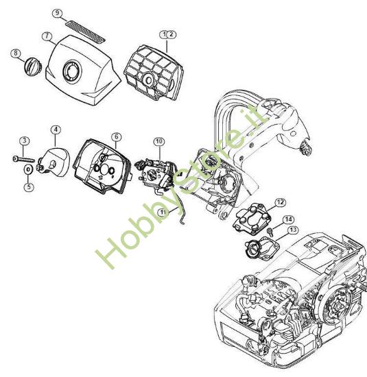 Filtro aria, coperchio sede carburatore MS 201 Stihl