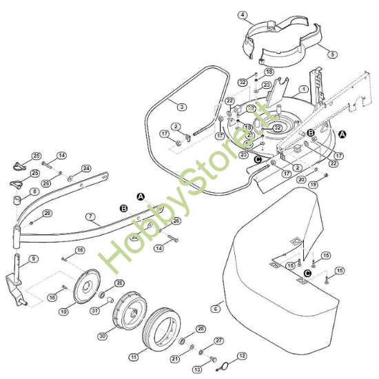 Scocca, ruota anteriore tosaerba MB 6.1 RV Viking