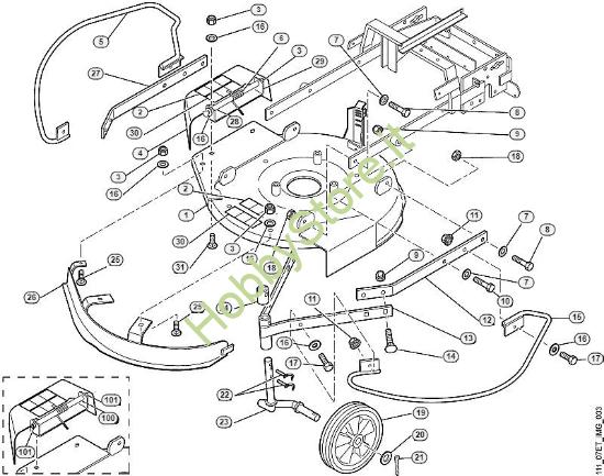 Scocca, ruota anteriore tosaerba MB 6 RC Viking