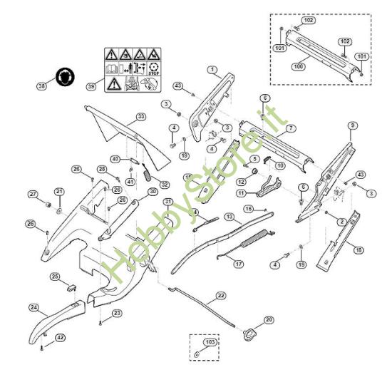 Telaio, regolazione altezza tosaerba MB 755 Viking